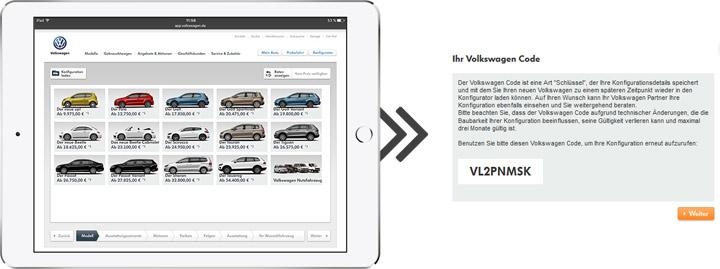 VW-Code des Konfigurators